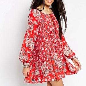 Free People Lucky Loosey Dress with Puff Sleeves